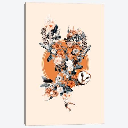 Floral Owl Canvas Print #BUR58} by Burcu Korkmazyurek Art Print