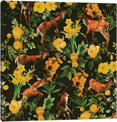 Deer And Floral Pattern Canvas Art Print