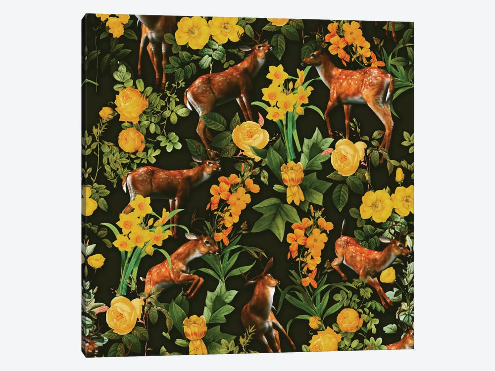 Deer And Floral Pattern 1-piece Canvas Art Print