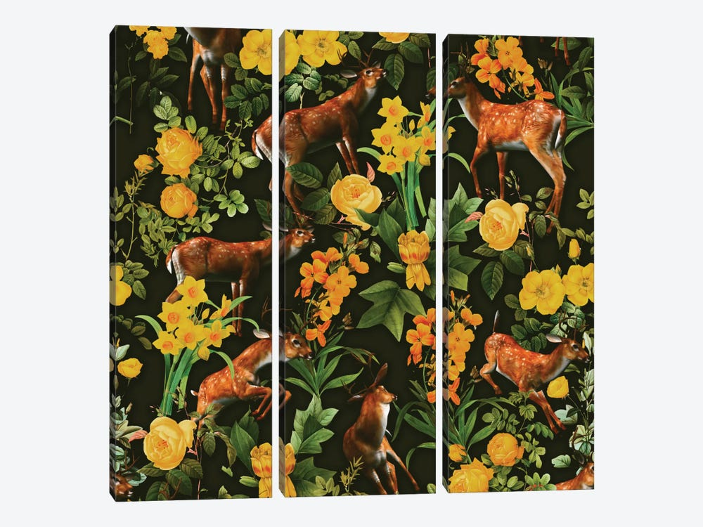 Deer And Floral Pattern 3-piece Canvas Print