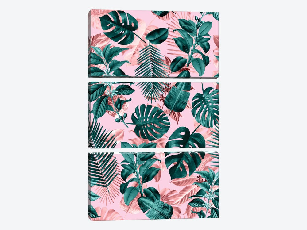 Tropical Garden III by Burcu Korkmazyurek 3-piece Canvas Art Print