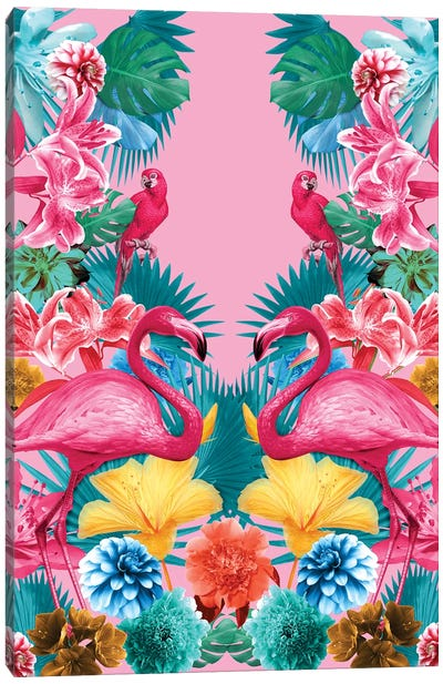 Flamingo And Tropical Garden Canvas Art Print