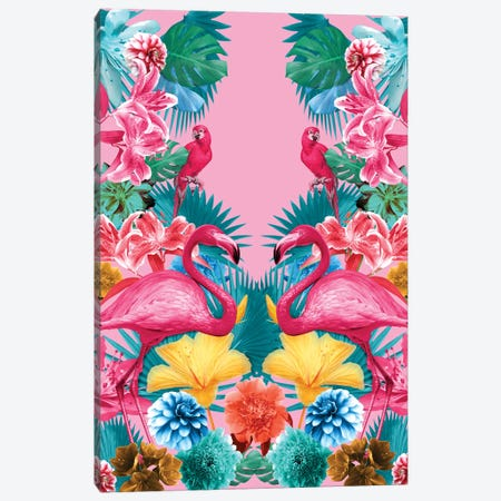 Flamingo And Tropical Garden Canvas Print #BUR75} by Burcu Korkmazyurek Canvas Art