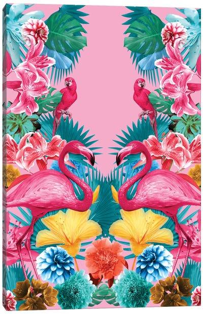 Flamingo And Tropical Garden Canvas Print #BUR75