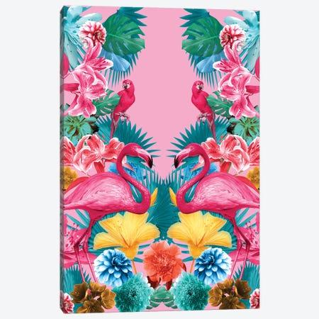 Flamingo And Tropical Garden Canvas Print #BUR75} by Burcu Korkmazyurek Canvas Art