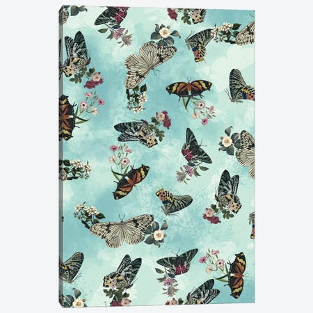 Butterfly Floral Canvas Print #BUR77} by Burcu Korkmazyurek Canvas Art