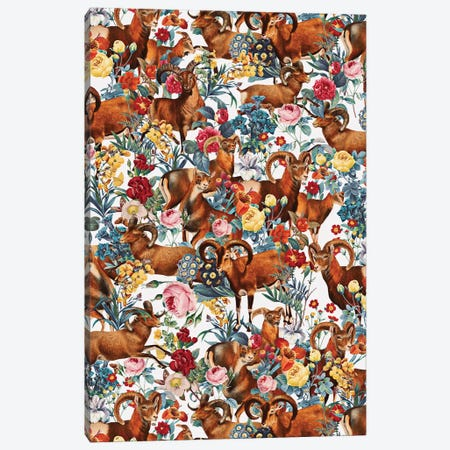 Capra Cylindricornis And Floral Pattern Canvas Print #BUR78} by Burcu Korkmazyurek Art Print