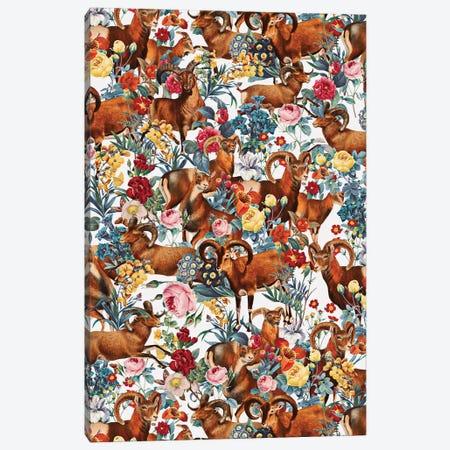 Capra Cylindricornis And Floral Pattern Canvas Print #BUR78} by Burcu Korkmazyurek Art Print