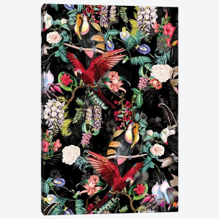 Floral And Birds IX Canvas Print #BUR85} by Burcu Korkmazyurek Art Print
