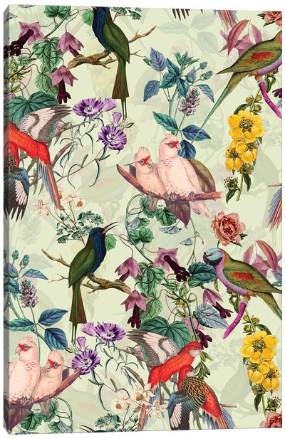 Floral And Birds VIII Canvas Art Print