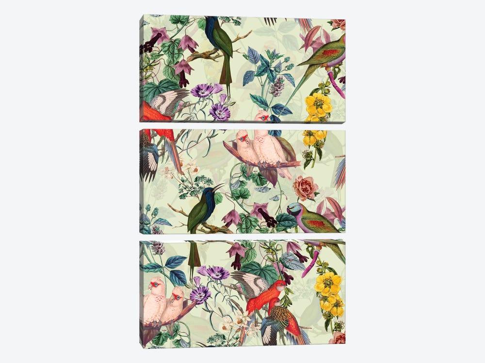 Floral And Birds VIII by Burcu Korkmazyurek 3-piece Canvas Artwork