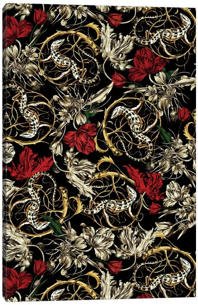 Floral And Lizard Pattern Canvas Art Print