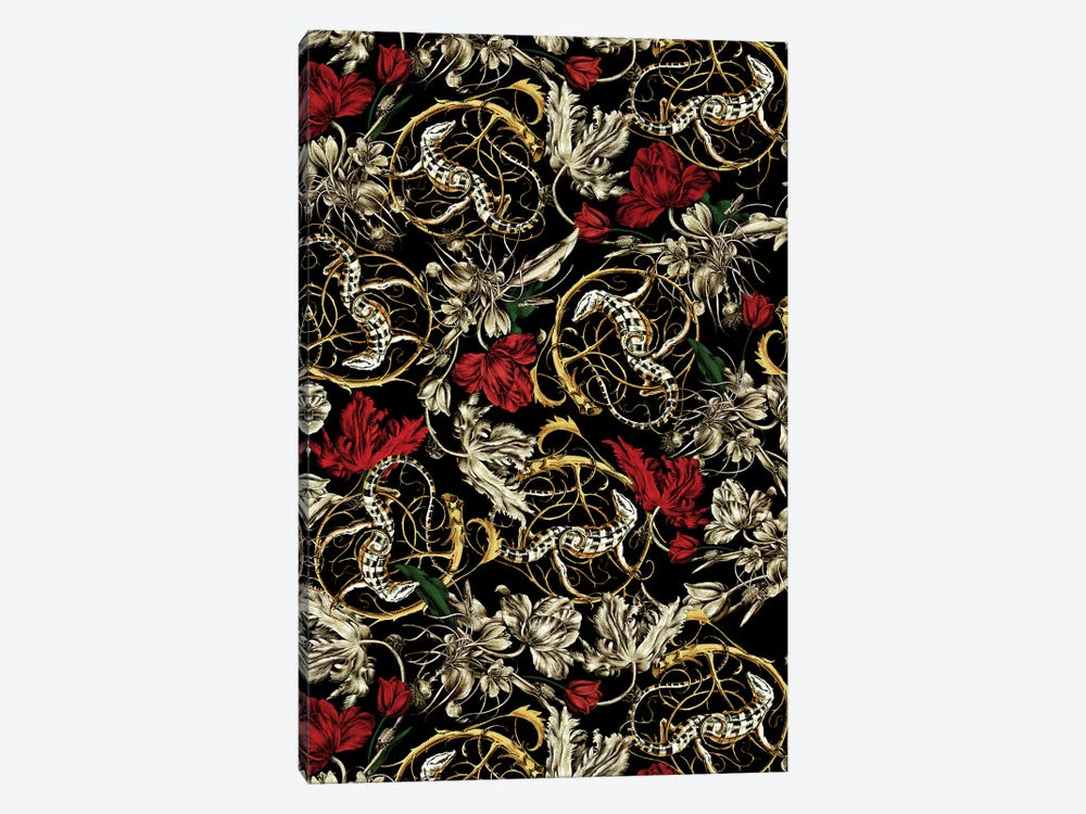 Floral And Lizard Pattern 1-piece Art Print