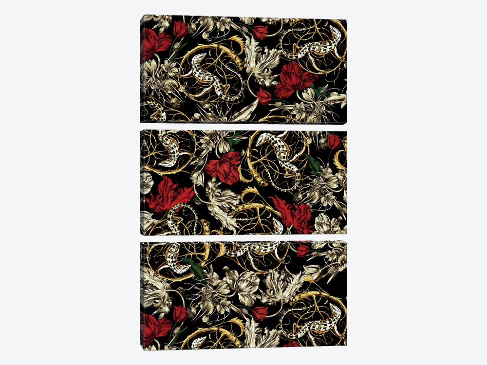 Floral And Lizard Pattern 3-piece Canvas Print