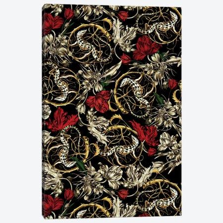 Floral And Lizard Pattern Canvas Print #BUR87} by Burcu Korkmazyurek Canvas Print