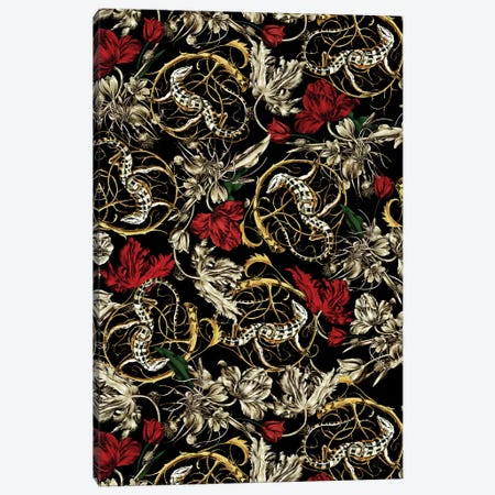 Floral And Lizard Pattern Canvas Print #BUR87} by Burcu Korkmazyurek Canvas Print