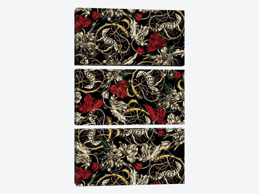 Floral And Lizard Pattern by Burcu Korkmazyurek 3-piece Canvas Print
