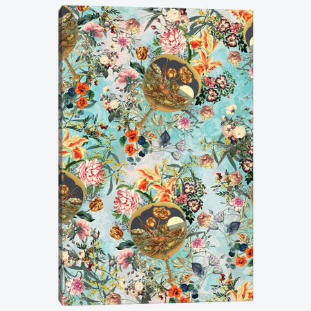 Floral And Lobster Canvas Print #BUR88} by Burcu Korkmazyurek Canvas Wall Art