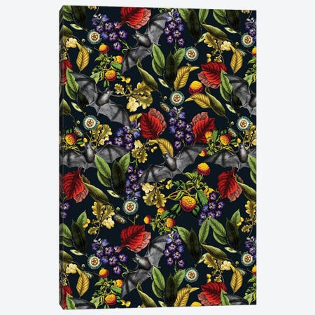 Flying Fox And Floral Pattern Canvas Print #BUR90} by Burcu Korkmazyurek Canvas Print