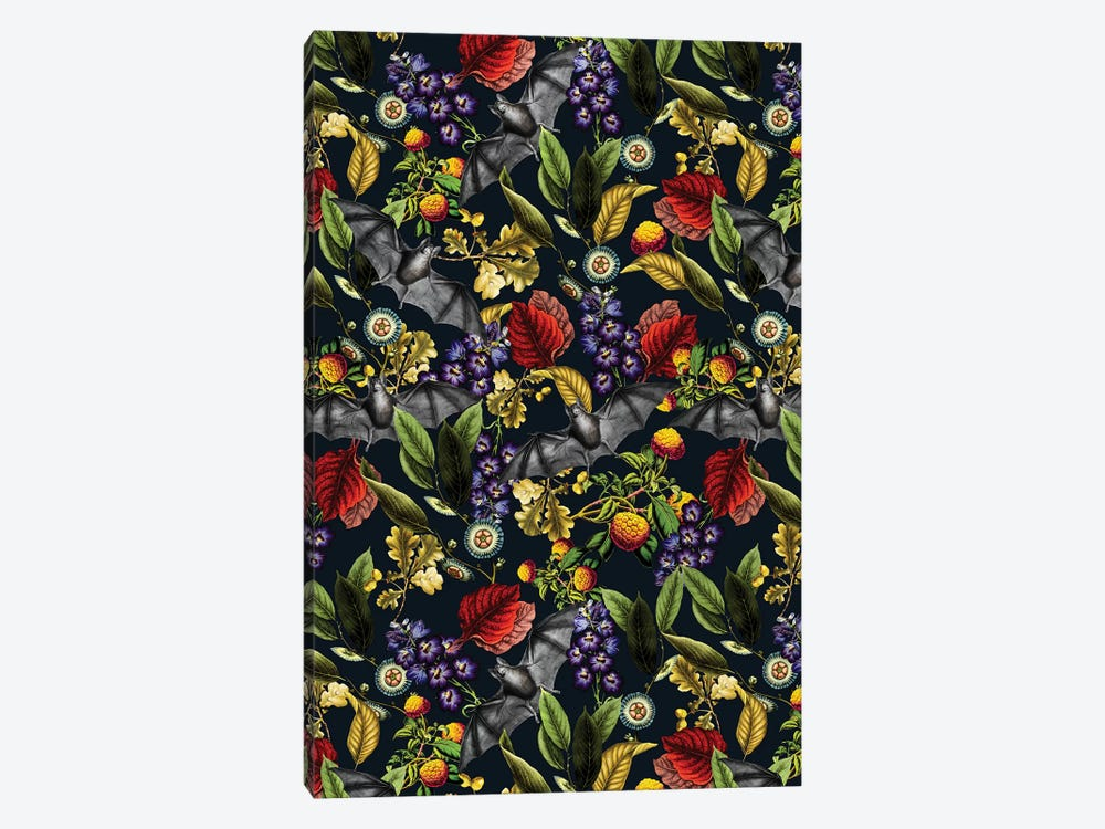 Flying Fox And Floral Pattern 1-piece Canvas Art Print