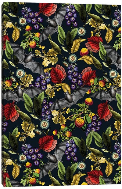 Flying Fox And Floral Pattern Canvas Art Print