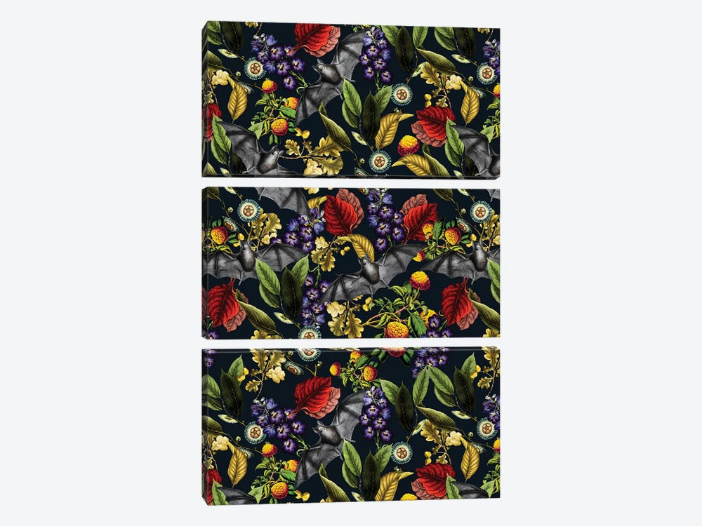 Flying Fox And Floral Pattern 3-piece Canvas Print