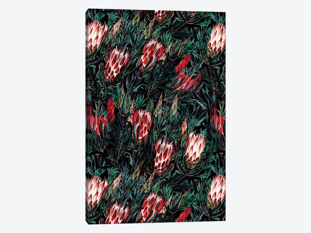 Protea Floral Night Pattern 1-piece Canvas Wall Art