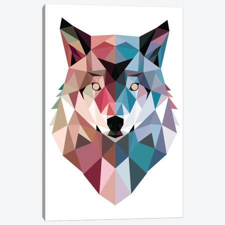 Geo Wolf 3-Piece Canvas #BUX1} by Michael Buxton Canvas Artwork