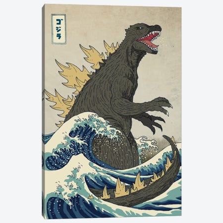 The Great Monster Off Kanagawa Canvas Print #BUX4} by Michael Buxton Canvas Print