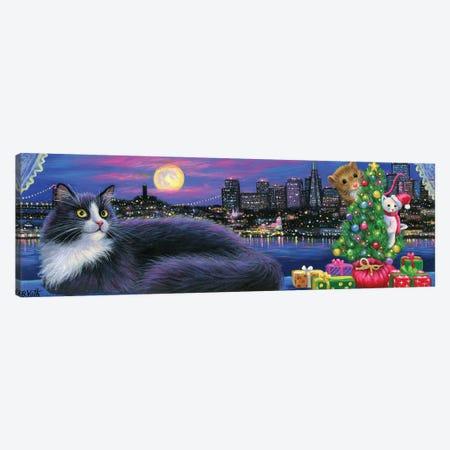 City Kitty Christmas Canvas Print #BVT102} by Bridget Voth Canvas Print
