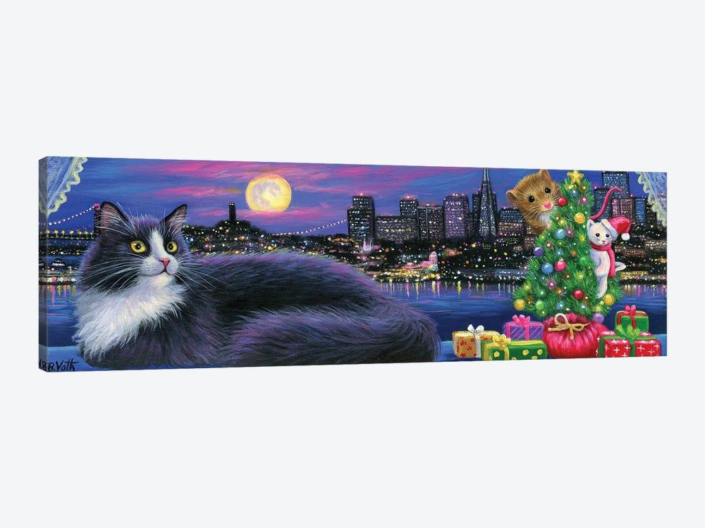 City Kitty Christmas by Bridget Voth 1-piece Canvas Print