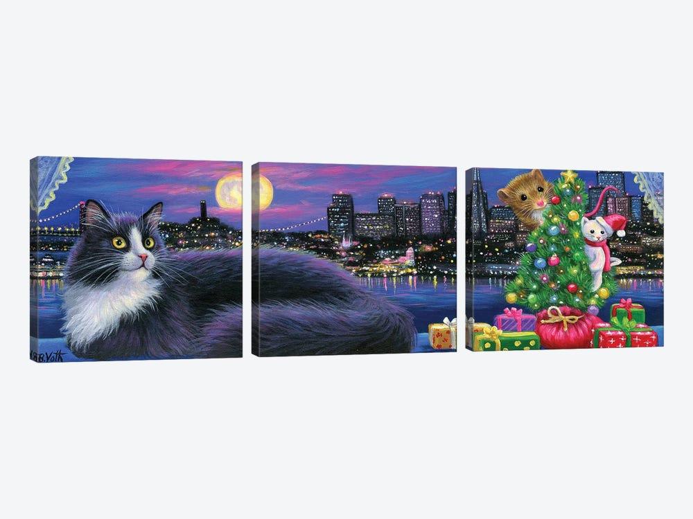 City Kitty Christmas by Bridget Voth 3-piece Art Print