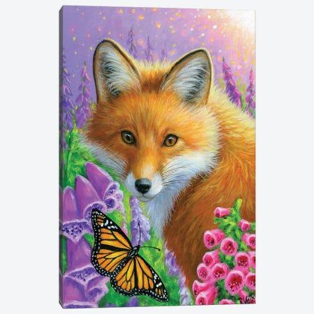 A Fox In The Foxgloves I Canvas Print #BVT10} by Bridget Voth Canvas Art Print