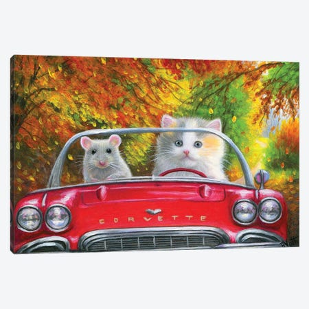 Delightful Day For A Drive Canvas Print #BVT110} by Bridget Voth Canvas Wall Art