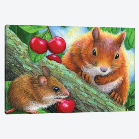 Friends In The Cherry Tree Canvas Print #BVT133} by Bridget Voth Canvas Art