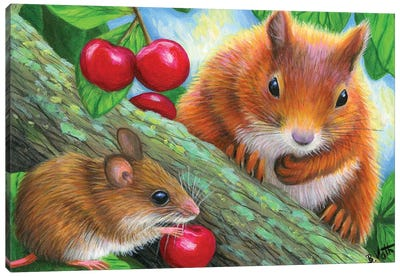 Friends In The Cherry Tree Canvas Art Print