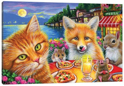 Pizza With Friends Canvas Art Print