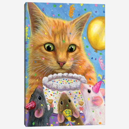 Scruffys New Years Party Canvas Print #BVT262} by Bridget Voth Canvas Artwork