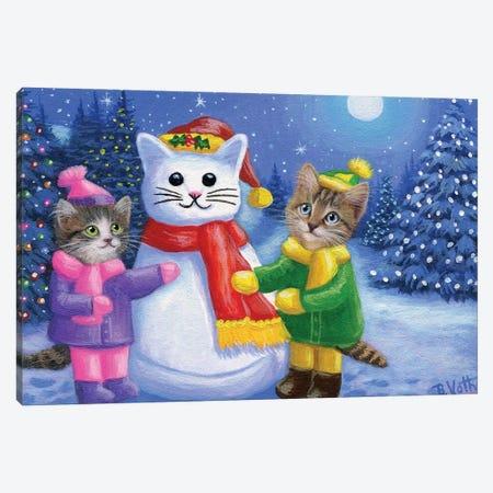 Snow Kitty Fun Canvas Print #BVT266} by Bridget Voth Canvas Art Print