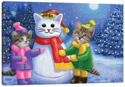 Snow Kitty Fun Canvas Art Print
