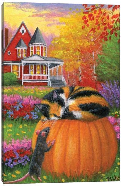 A Nap In The Fall Garden Canvas Art Print
