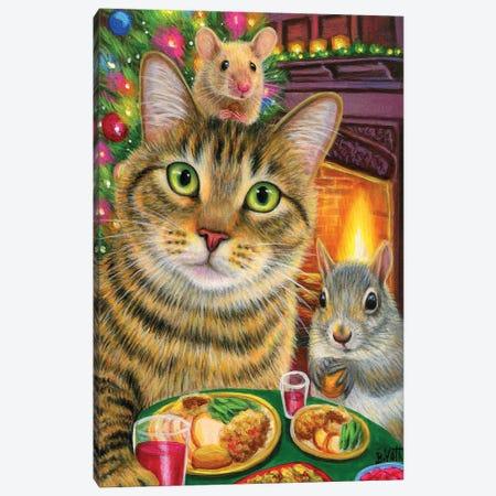 Teddy's Christmas Dinner Canvas Print #BVT296} by Bridget Voth Canvas Artwork