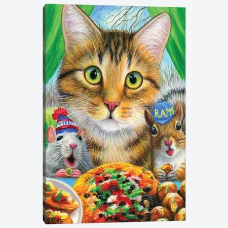 Teddy's Super Bowl Party Canvas Print #BVT297} by Bridget Voth Canvas Artwork