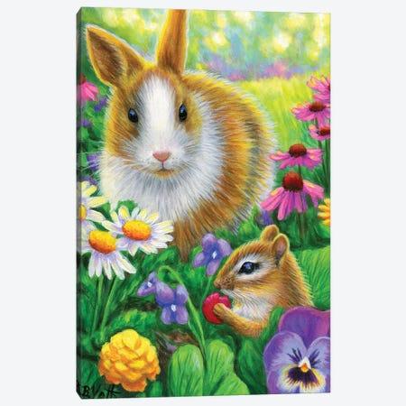 A Treat In Bunny Garden II Canvas Print #BVT39} by Bridget Voth Canvas Print