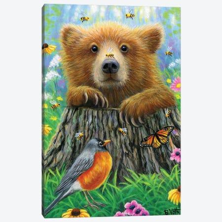 Bee Happy Canvas Print #BVT70} by Bridget Voth Art Print