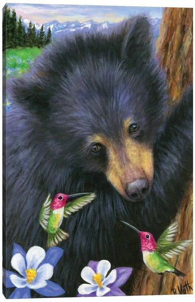 Buzzing Little Bear Canvas Art Print