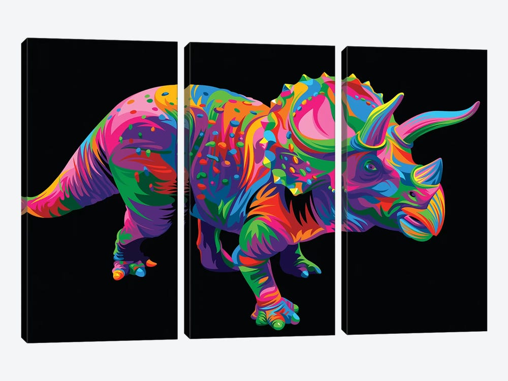 Triceratops by Bob Weer 3-piece Canvas Art Print