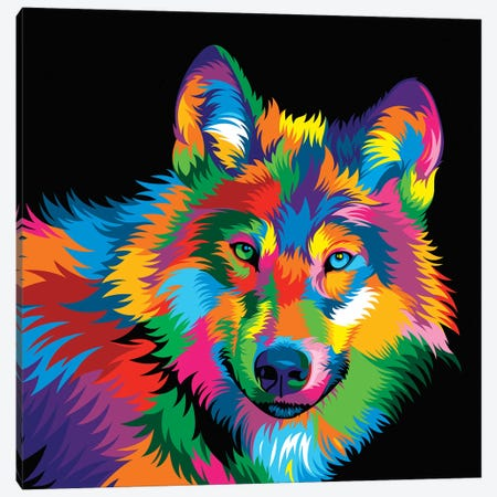 Wolf Canvas Print #BWE21} by Bob Weer Canvas Wall Art