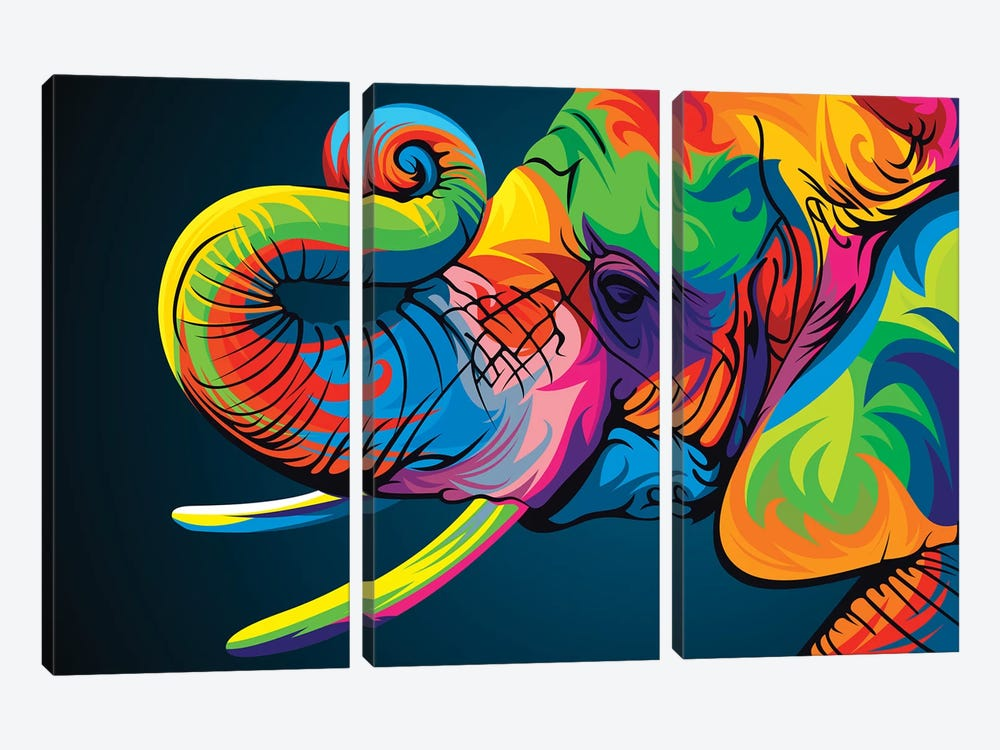 Elephant by Bob Weer 3-piece Canvas Print