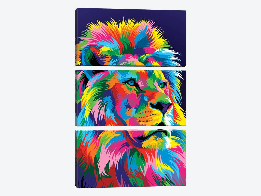 Lion New by Bob Weer 3-piece Canvas Artwork